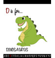 vocabulary worksheet card with cartoon dinosaurus vector image vector image