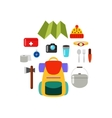 What to bring on a hike Hiking equipment Set of vector image