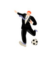 a man in black suit prepares to hit ball vector image