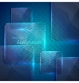 abstract blue background with transparent glass vector image vector image