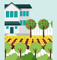 beautiful house apple trees yellow flowers and vector image