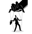 businessman being controlled by puppet master vector image vector image