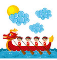 chinese people paddling red dragon boat vector image vector image