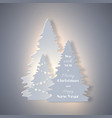 christmas holiday banner with paper cut style fir vector image vector image