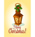 Christmas lantern and red holly berry card design vector image vector image
