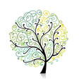 colorful tree with leaf spiral ornament vector image