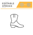 cowboy boot editable stroke line outline icon vector image vector image