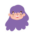 cute face girl expression curly purple hair vector image