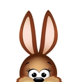 easter bunny peeking out from bottom edge of vector image