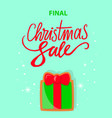 final christmas sale with gift box on snowflakes vector image vector image