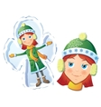 Girl making snow angel vector image vector image