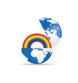globe with rainbow vector image
