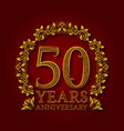 golden emblem of fiftieth years anniversary vector image vector image