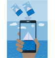 hand with mobile phone sending photo from vacation vector image vector image