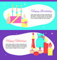 happy holiday card templates in flat style vector image vector image