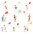 happy kids running with kite parents help vector image