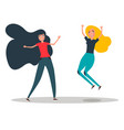 happy young girls best friends girls jumping vector image