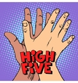 high five greeting white black hand vector image vector image