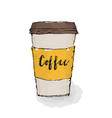 hot coffee in a glass americano hand drawn vector image