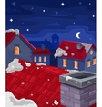 houses at night vector image vector image