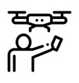 human and drone icon outline vector image vector image
