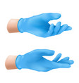 human hands wearing blue latex medical gloves vector image