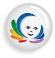 Kid and the rainbow icon vector image