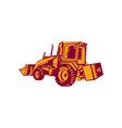 Mechanical Digger Excavator Woodcut vector image vector image