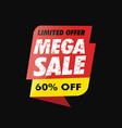 mega sale banner offer vector image vector image