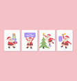 merry christmas greeting card collection vector image vector image