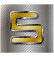Metallic number five vector image vector image