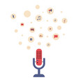 microphone with podcast icons vector image vector image