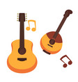 musical instruments guitars or banjo and music vector image vector image