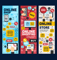 online shopping and payment linear banners vector image vector image