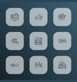 optimization icons line style set with seo vector image vector image