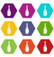 perfume bottle lavender icons set 9 vector image