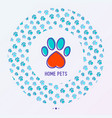 pet paws concept in circle shape vector image vector image