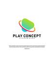 play logo design concept planet play logo vector image vector image