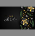 portuguese christmas card of gift and xmas objects vector image vector image