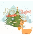 Postcard merry Christmas and a happy New Year vector image vector image