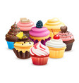 realistic cupcakes with fruits cream chocolate vector image vector image
