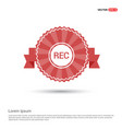 recording icon - red ribbon banner vector image