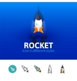 Rocket icon in different style vector image