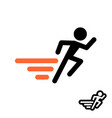runner logo fast moving man silhouette with speed vector image