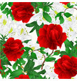 seamless texture rose red and rhododendrons vector image vector image