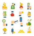 set a various kind of money packing in bundles of vector image vector image