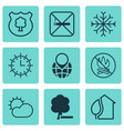 set of 9 eco icons includes clear climate snow vector image vector image
