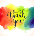 Thank you watercolor card template Bright hand vector image vector image