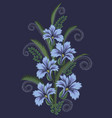 vertical bouquet from the of zigzag embroidery vector image vector image