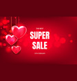 volumetric red hearts hang on horizontal red vector image